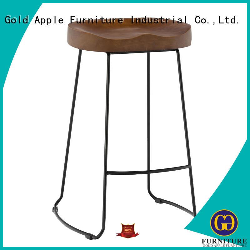Gold Apple plywood white wooden stool elegant for restaurant