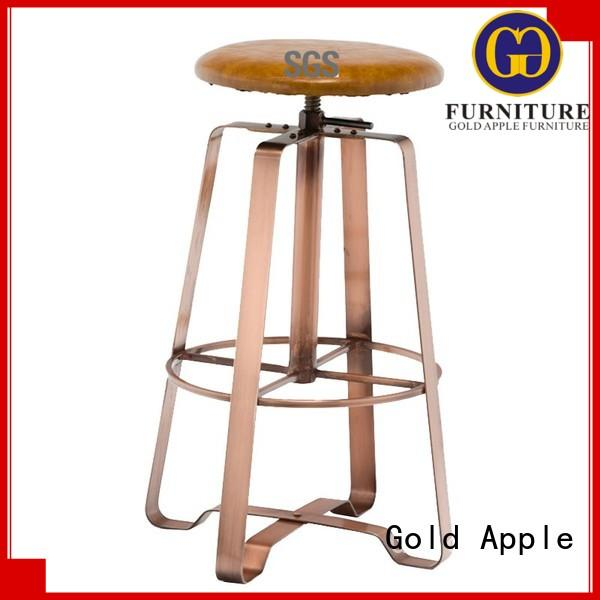 Gold Apple metal bar chair upholstered swivel bar stools with arms adjustable with cushion