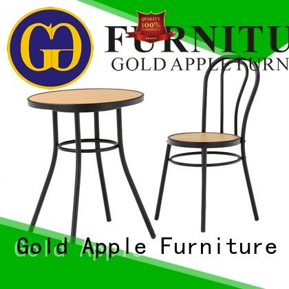 Gold Apple wooden kitchen dining table set round shape restaurant furniture
