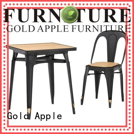 Gold Apple steel frame dining table set for 2 catering restaurant furniture