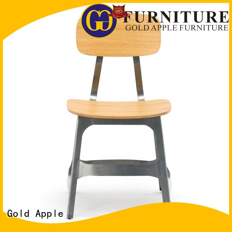 Gold Apple plywood wooden chair with armrest modern design coffee shop