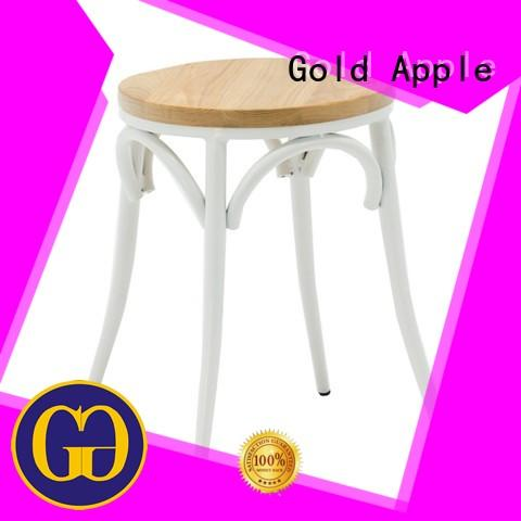 Gold Apple adjustable height wooden upholstered bar stools industrial metal for kitchen