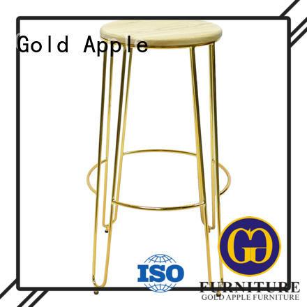 Quality Gold Apple Brand stool restaurant wooden swivel bar stools
