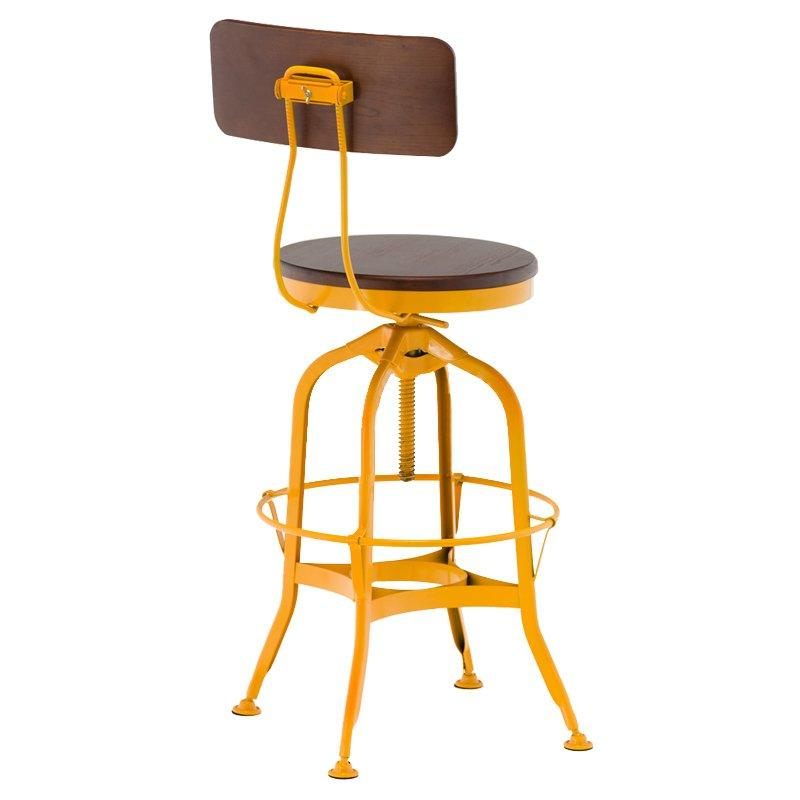short wooden stool adjustable height wooden seat with backrest-3