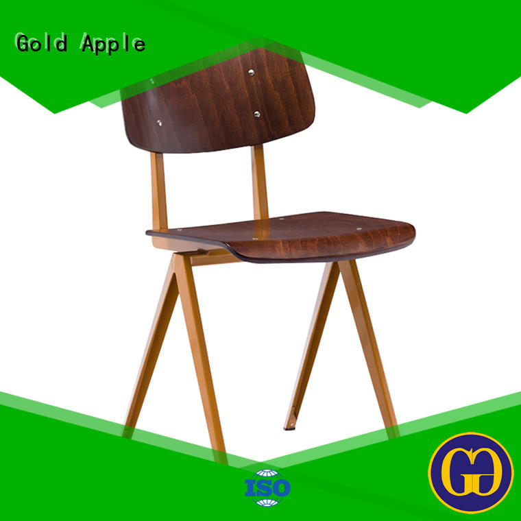 Gold Apple natural oak metal kitchen chairs colourful french style
