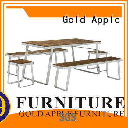 Gold Apple mirror chrome finish outdoor wooden table and chairs