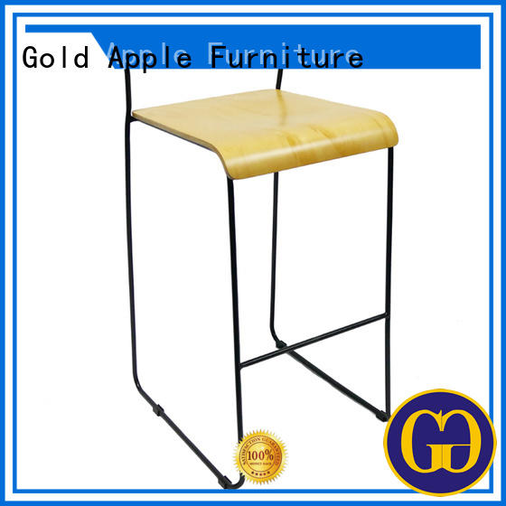 Gold Apple plywood 24 inch wooden bar stools industrial metal for kitchen