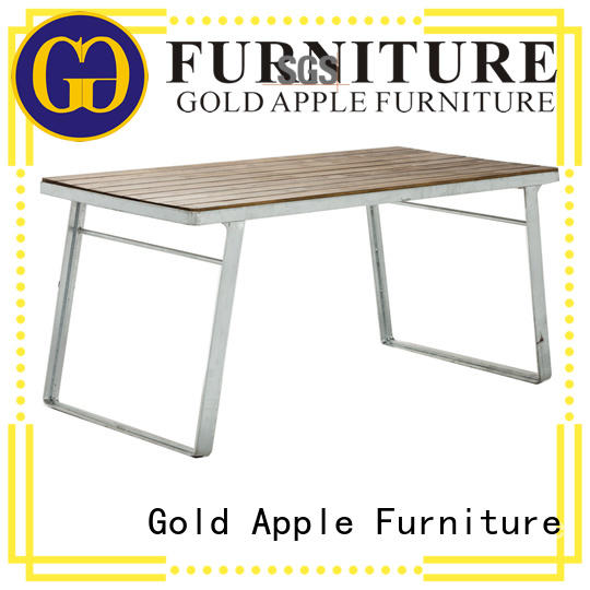 Gold Apple high-end small round wood dining table steel frame for catering