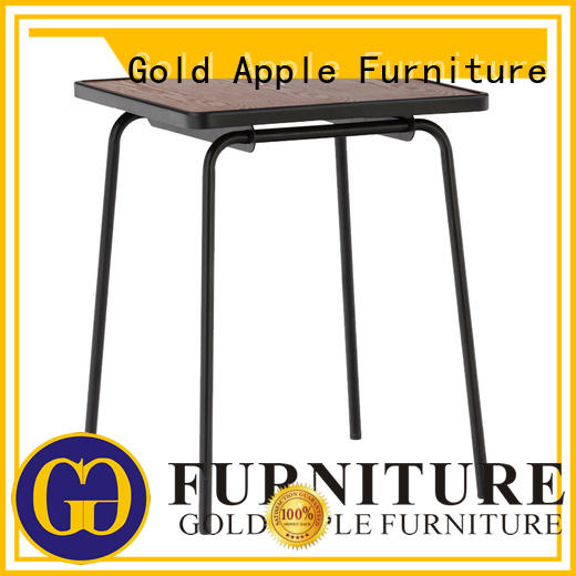 Gold Apple comfortable large round wood dining table steel frame at discount