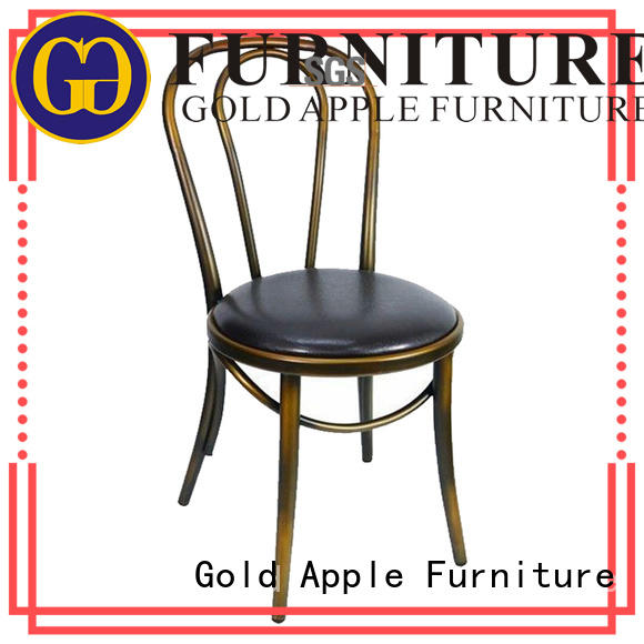 metal frame industrial metal and wood dining chairs dining chairs without armrest Gold Apple