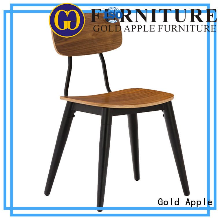 Gold Apple wooden metal chairs for sale electroplated shelf stack
