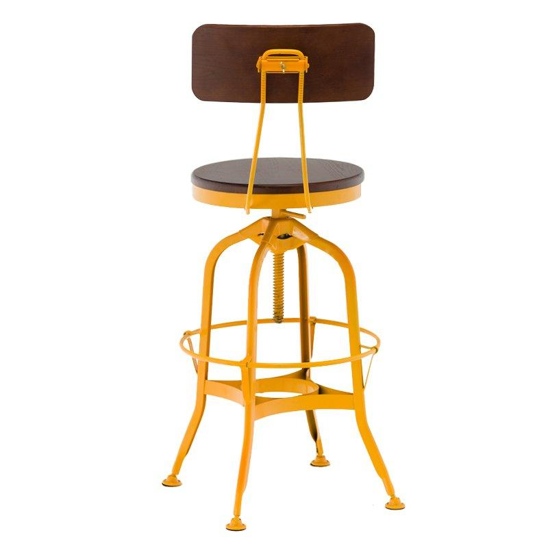 short wooden stool adjustable height wooden seat with backrest-2