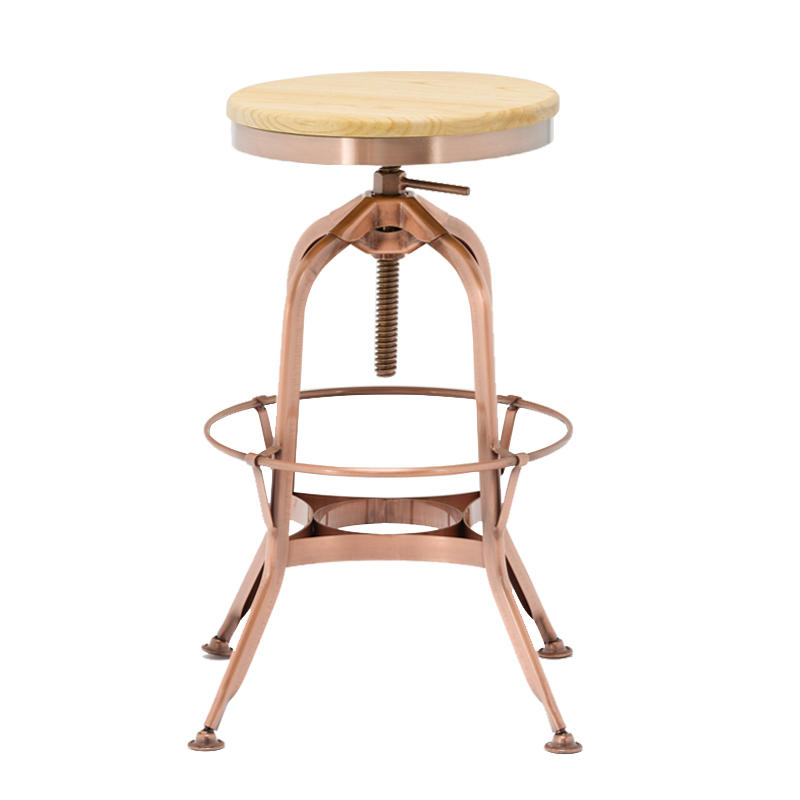 Gold Apple vintage wood and leather bar stools wooden seat for restaurant-1