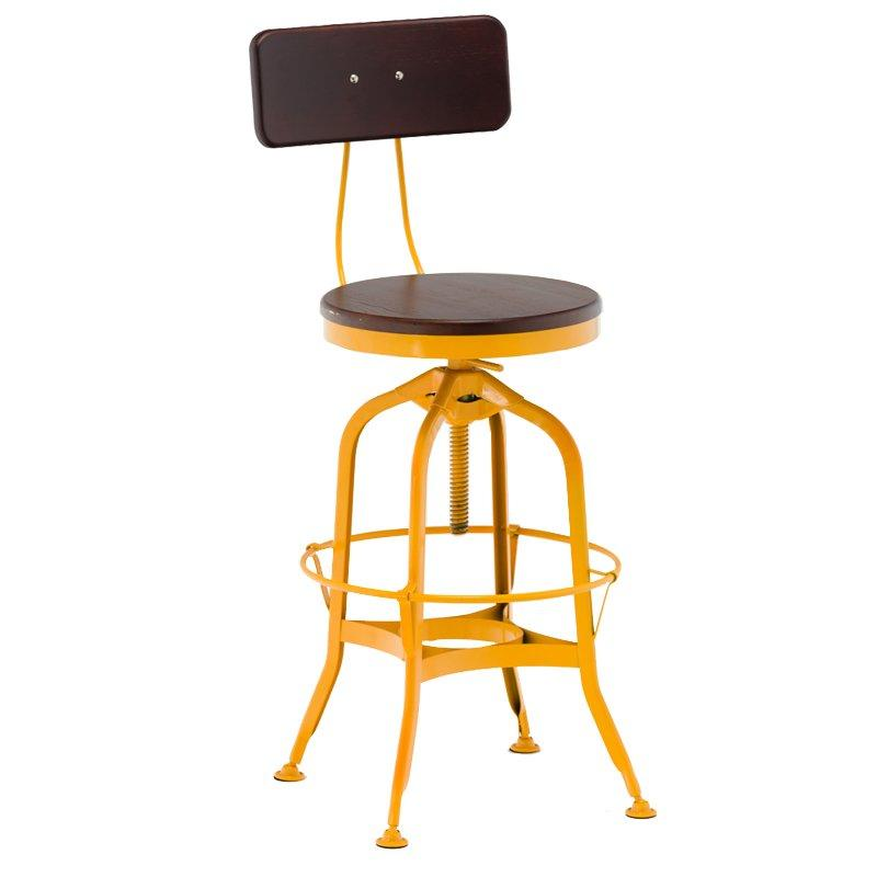 short wooden stool adjustable height wooden seat with backrest-1