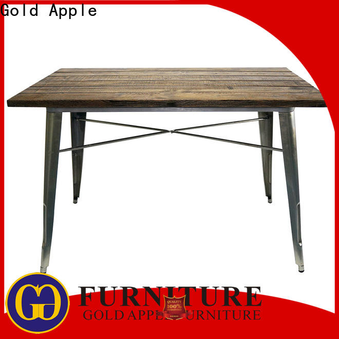 Gold Apple comfortable long wood dining table industrial for restaurant