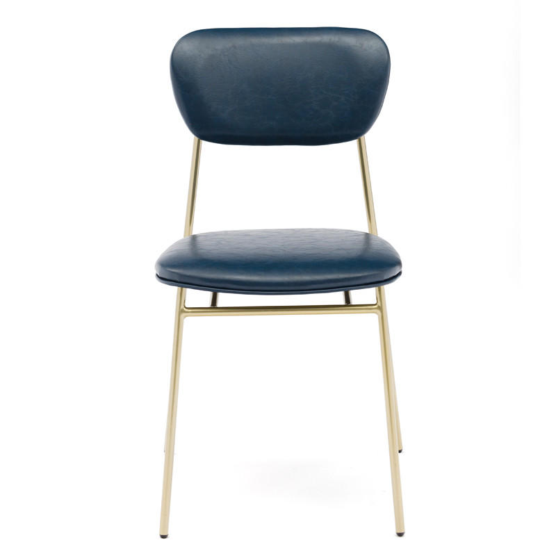 Stacking Navy Blue/ Brown Faux Leather Side Chair