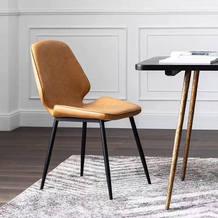 Oem Home/Commercial Use Luxe Living Style Shell Shape PU Cushion Metal Chair Factory Price-Gold Apple