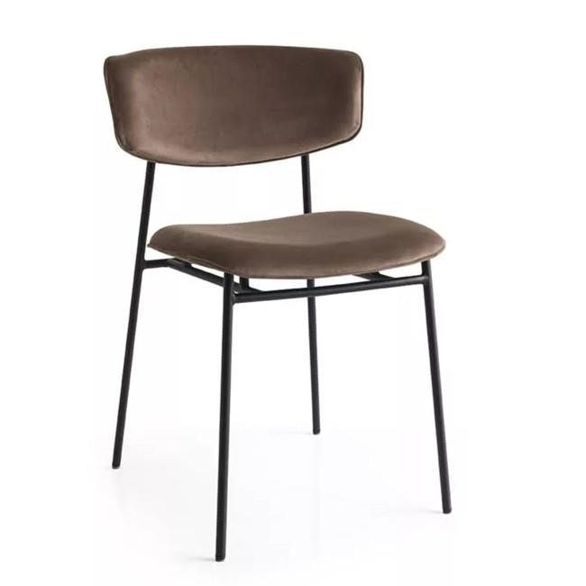 Stackable  Uphostered PU Cushion Metal Chair Restaurant Dining Chair