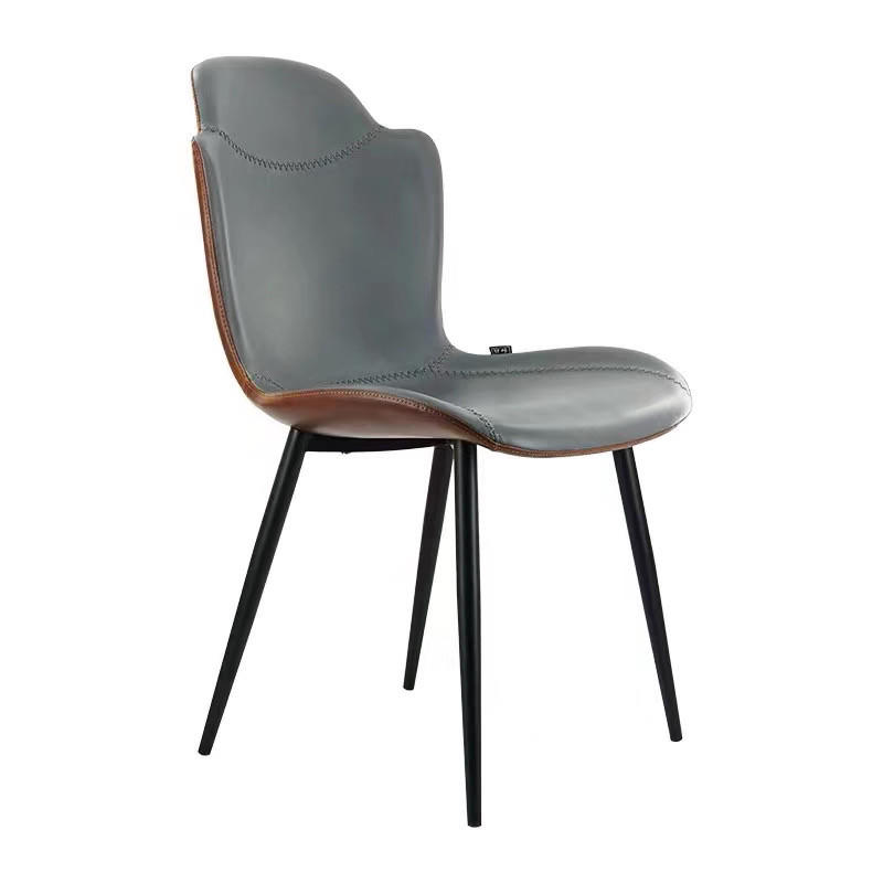 Luxe Living Style Shell PU Cushion Metal Chair Restaurant Dining Chair